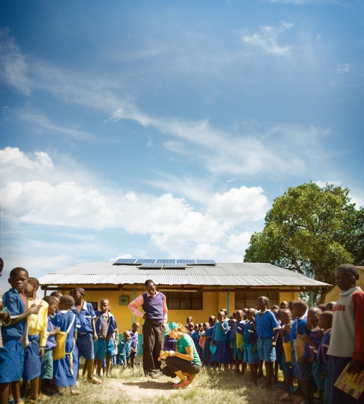 SolarCity's Alex Webster explains solar energy to students in Matate, Kenya.