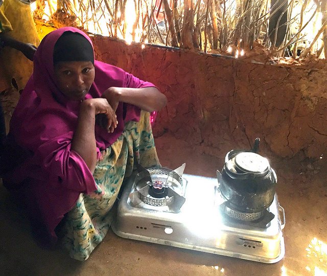 Boiling tea with a Project Gaia cookstove in Kenya