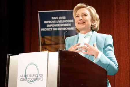 Hillary Clinton, promoting cookstoves